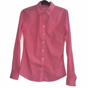 Banana Republic Pink Striped Fitted Button Down